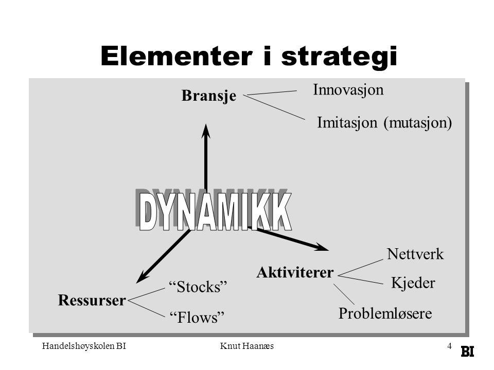 """Handelshøyskolen BIKnut Haanæs4 Elementer i strategi Ressurser Bransje Aktiviterer """"Stocks"""" """"Flows"""" Nettverk Kjeder Problemløsere Innovasjon Imitasjon"""