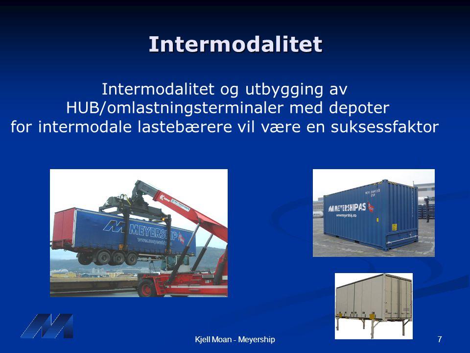 7Kjell Moan - Meyership Intermodalitet Intermodalitet og utbygging av HUB/omlastningsterminaler med depoter for intermodale lastebærere vil være en su
