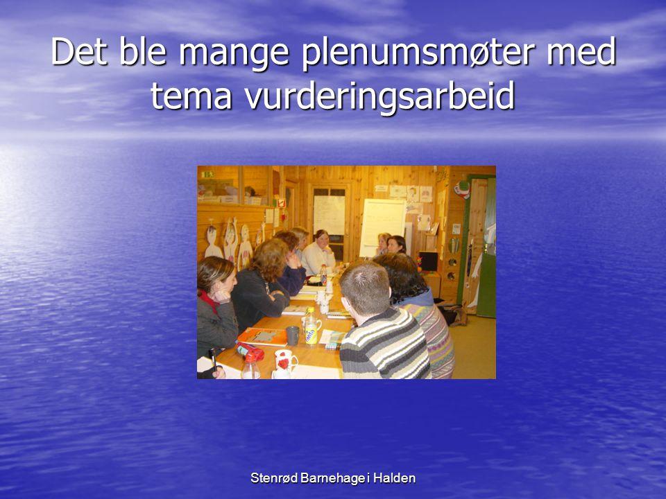 Stenrød Barnehage i Halden VURDERINGSARBEID • Prosjektet med vurderingsarbeid i barnehagen var i gang.
