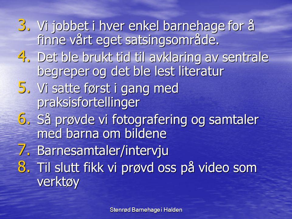 Stenrød Barnehage i Halden Litteratur • Louise Birkeland ( 1998) Pedagogiske erobringer • Kari Pape ( 2002) Fra ord til handling - fra handling til ord