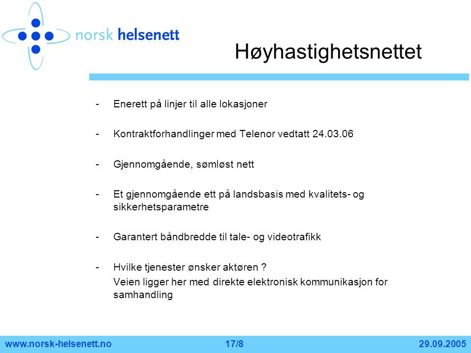 29.09.2005www.norsk-helsenett.no17/8 Høyhastighetsnettet -Enerett på linjer til alle lokasjoner -Kontraktforhandlinger med Telenor vedtatt 24.03.06 -G