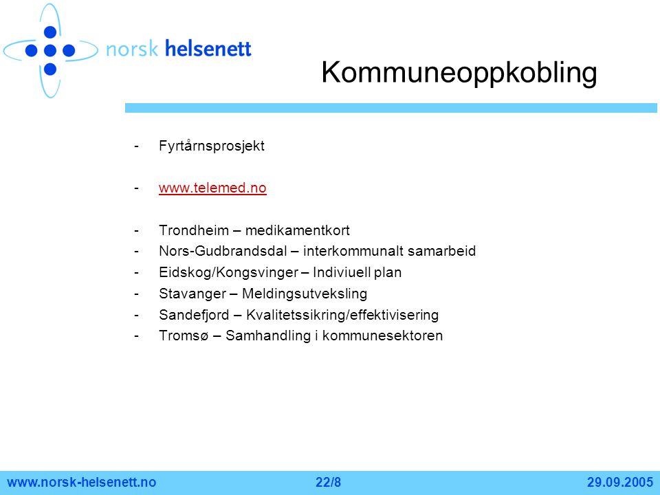 29.09.2005www.norsk-helsenett.no22/8 Kommuneoppkobling -Fyrtårnsprosjekt -www.telemed.nowww.telemed.no -Trondheim – medikamentkort -Nors-Gudbrandsdal