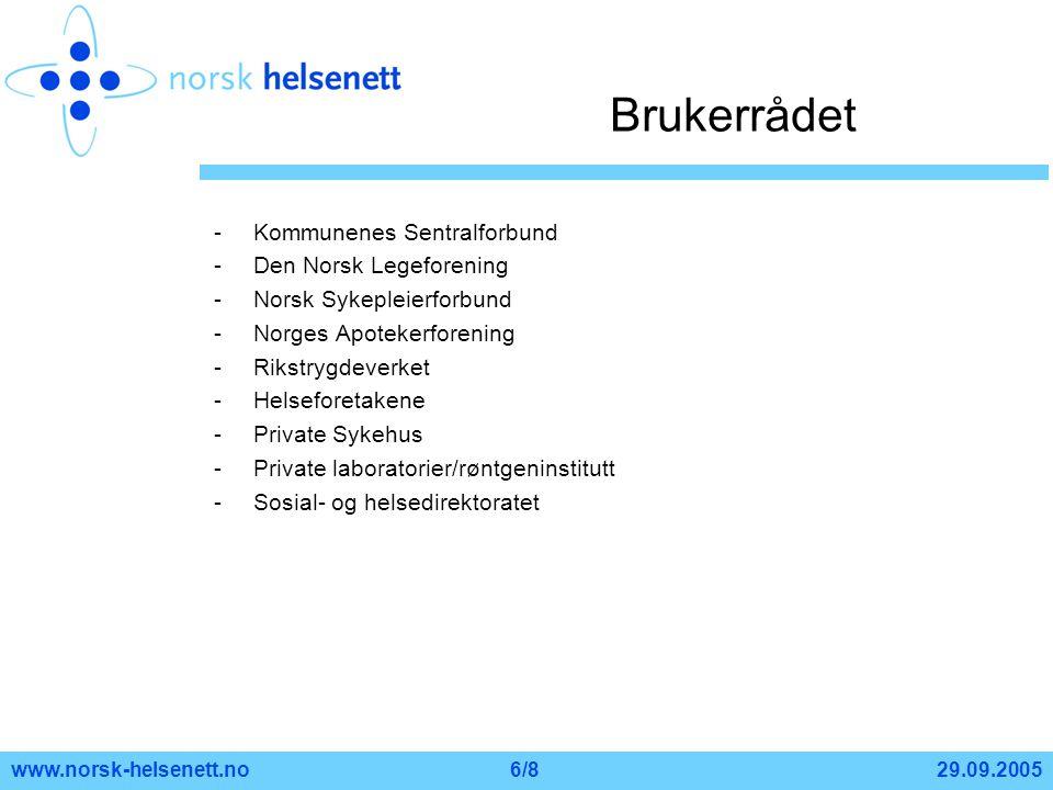 29.09.2005www.norsk-helsenett.no6/8 Brukerrådet -Kommunenes Sentralforbund -Den Norsk Legeforening -Norsk Sykepleierforbund -Norges Apotekerforening -