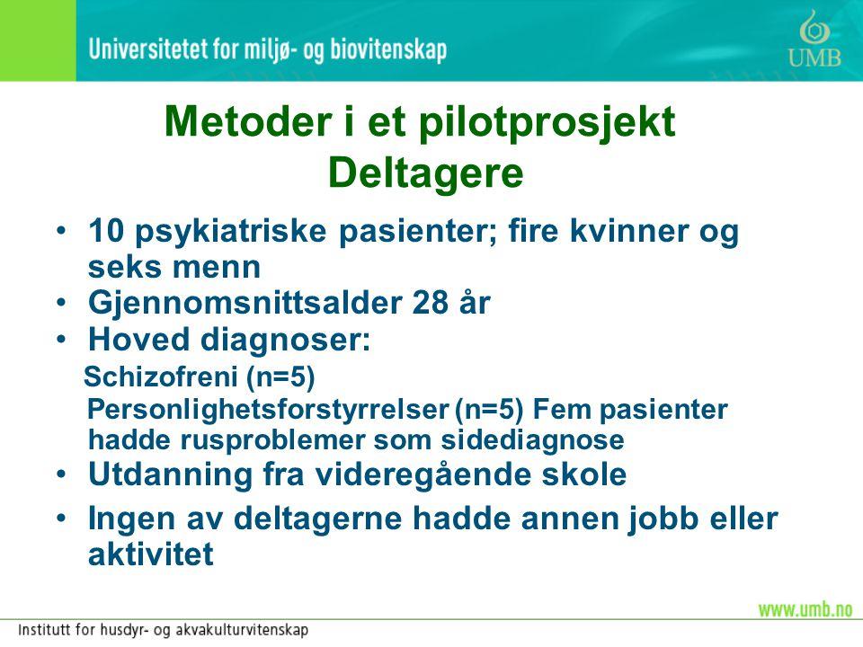 Metoder i et pilotprosjekt Deltagere •10 psykiatriske pasienter; fire kvinner og seks menn •Gjennomsnittsalder 28 år •Hoved diagnoser: Schizofreni (n=