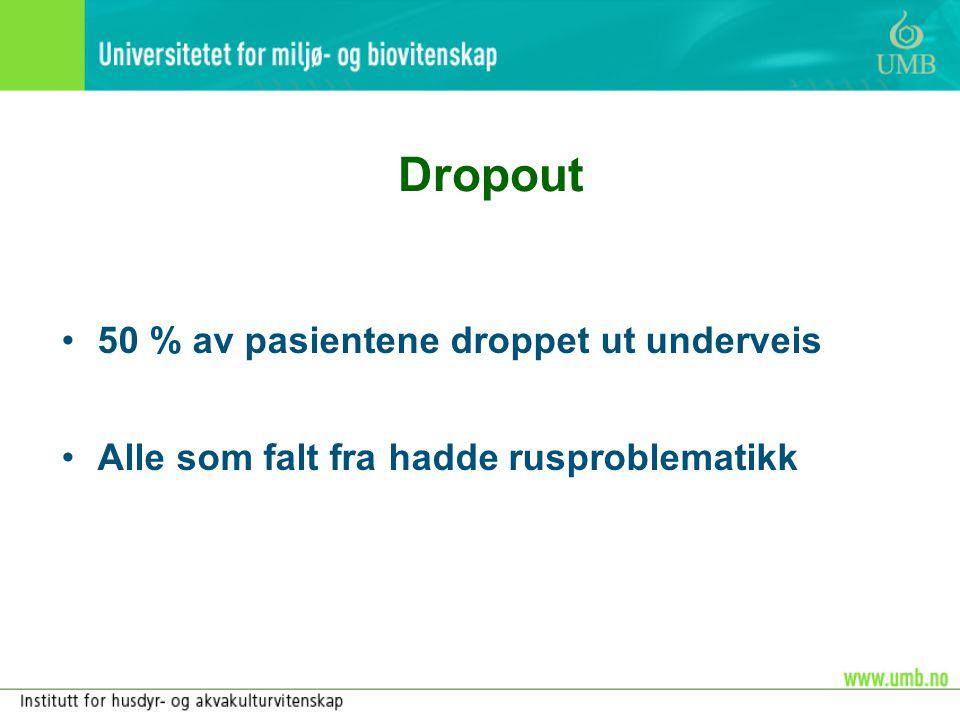 Dropout •50 % av pasientene droppet ut underveis •Alle som falt fra hadde rusproblematikk