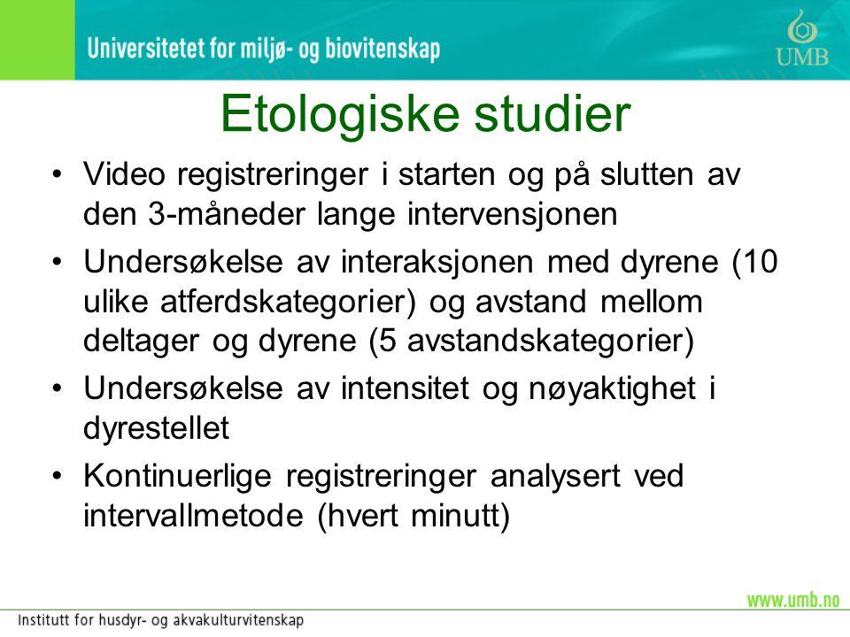 Etologiske studier •Video registreringer i starten og på slutten av den 3-måneder lange intervensjonen •Undersøkelse av interaksjonen med dyrene (10 u