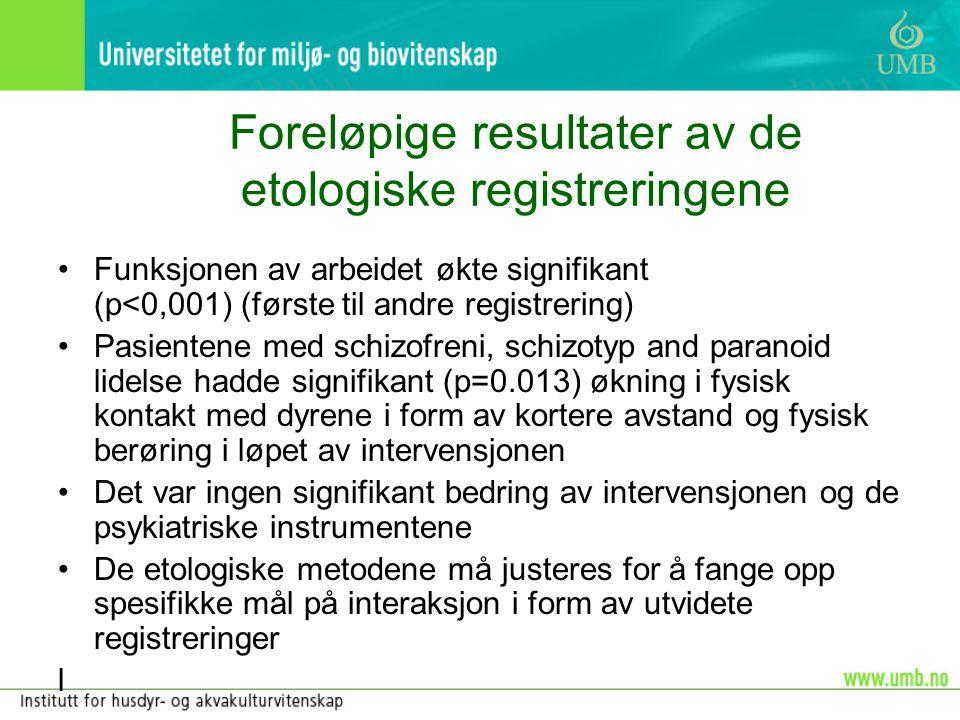 Foreløpige resultater av de etologiske registreringene •Funksjonen av arbeidet økte signifikant (p<0,001) (første til andre registrering) •Pasientene