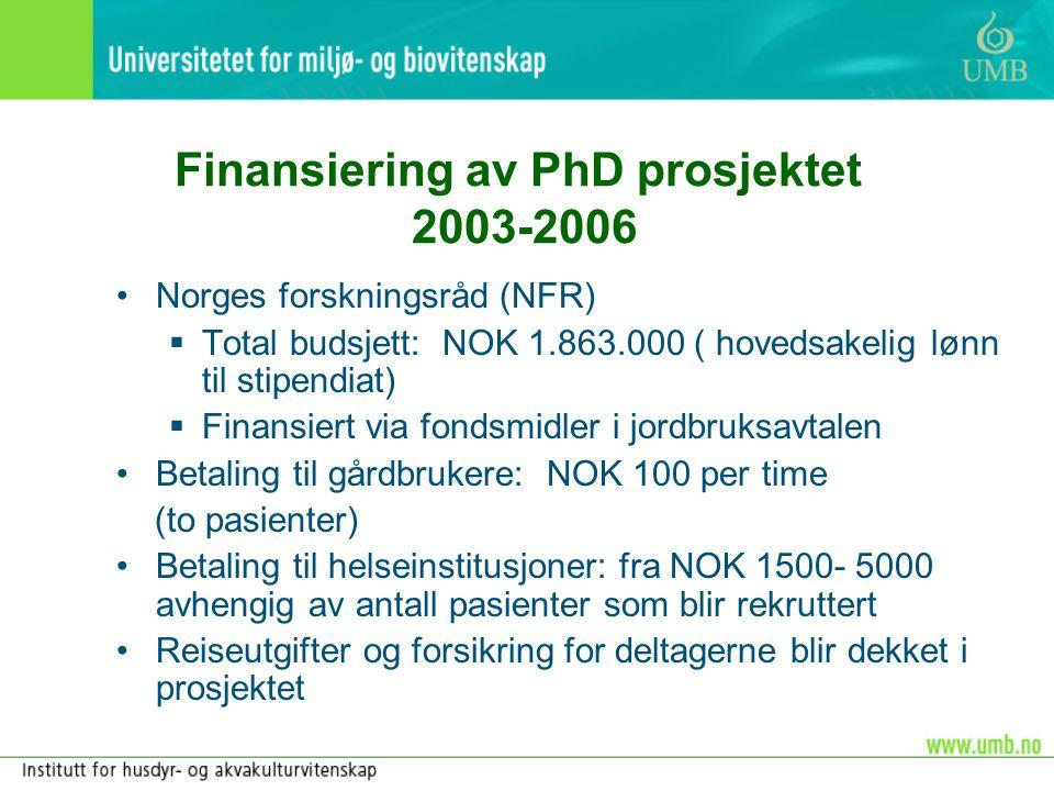 Finansiering av PhD prosjektet 2003-2006 •Norges forskningsråd (NFR)  Total budsjett: NOK 1.863.000 ( hovedsakelig lønn til stipendiat)  Finansiert
