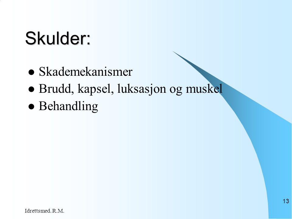 Idrettsmed. R.M. 13 Skulder:  Skademekanismer  Brudd, kapsel, luksasjon og muskel  Behandling