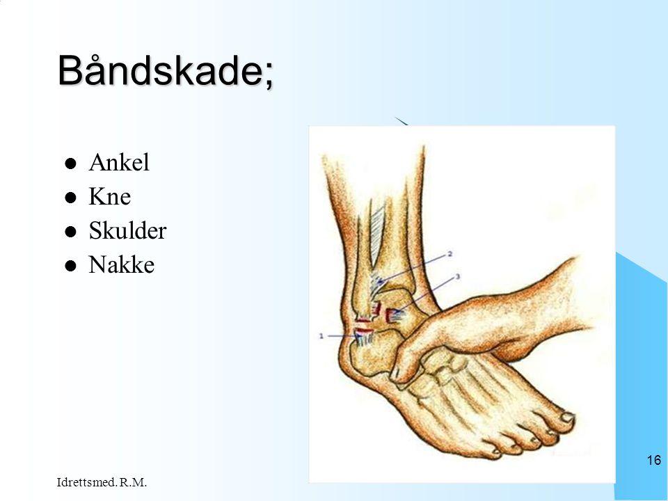 Båndskade;  Ankel  Kne  Skulder  Nakke Idrettsmed. R.M. 16
