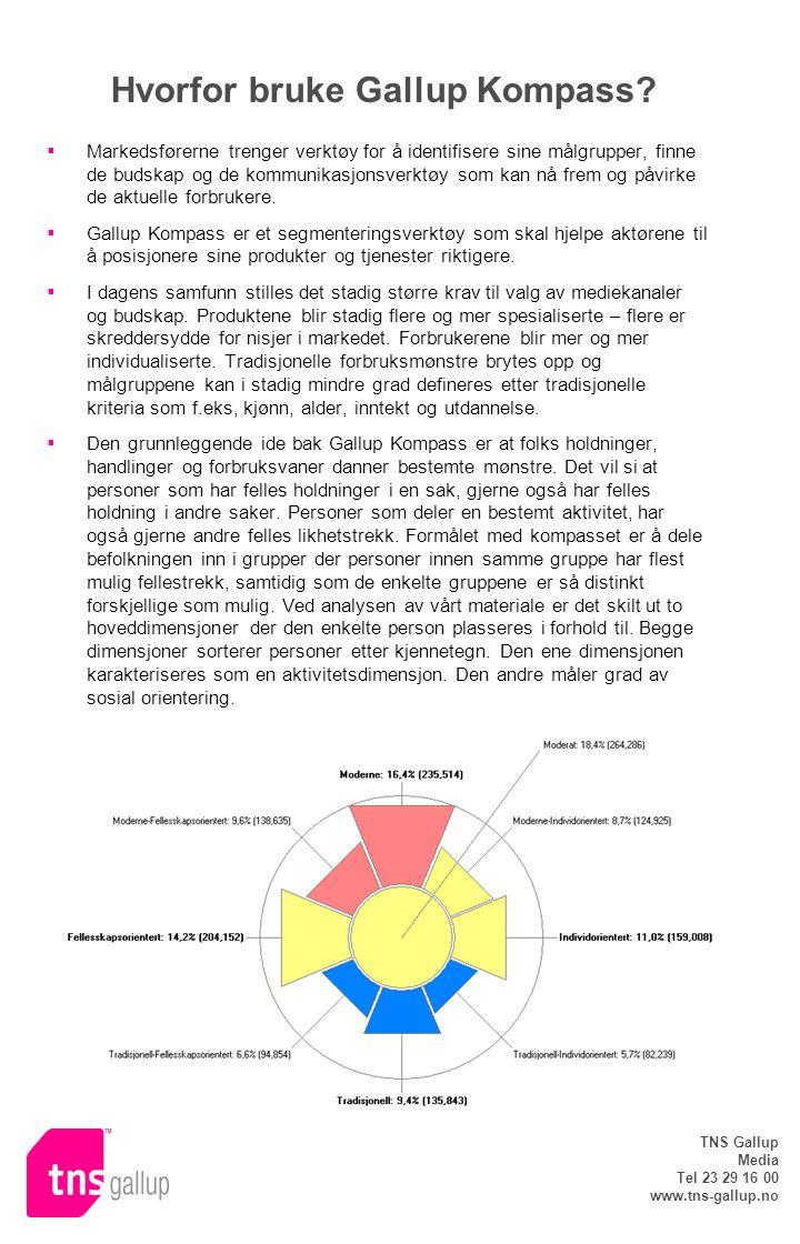 TNS Gallup Media Tel 23 29 16 00 www.tns-gallup.no Hvorfor bruke Gallup Kompass?  Markedsførerne trenger verktøy for å identifisere sine målgrupper,