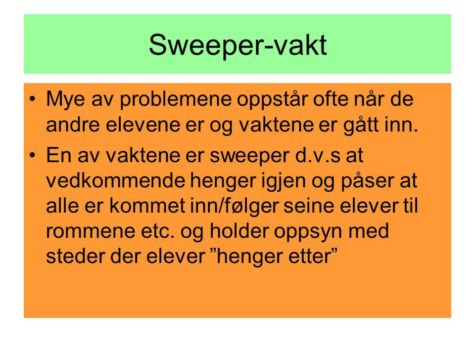 Sweeper-vakt •Mye av problemene oppstår ofte når de andre elevene er og vaktene er gått inn.