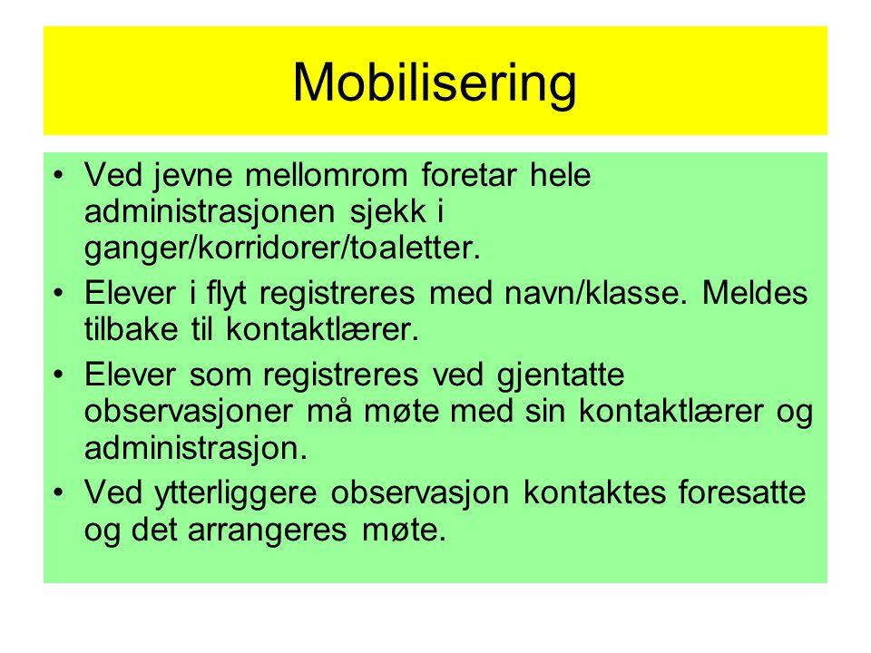 Mobilisering •Ved jevne mellomrom foretar hele administrasjonen sjekk i ganger/korridorer/toaletter.