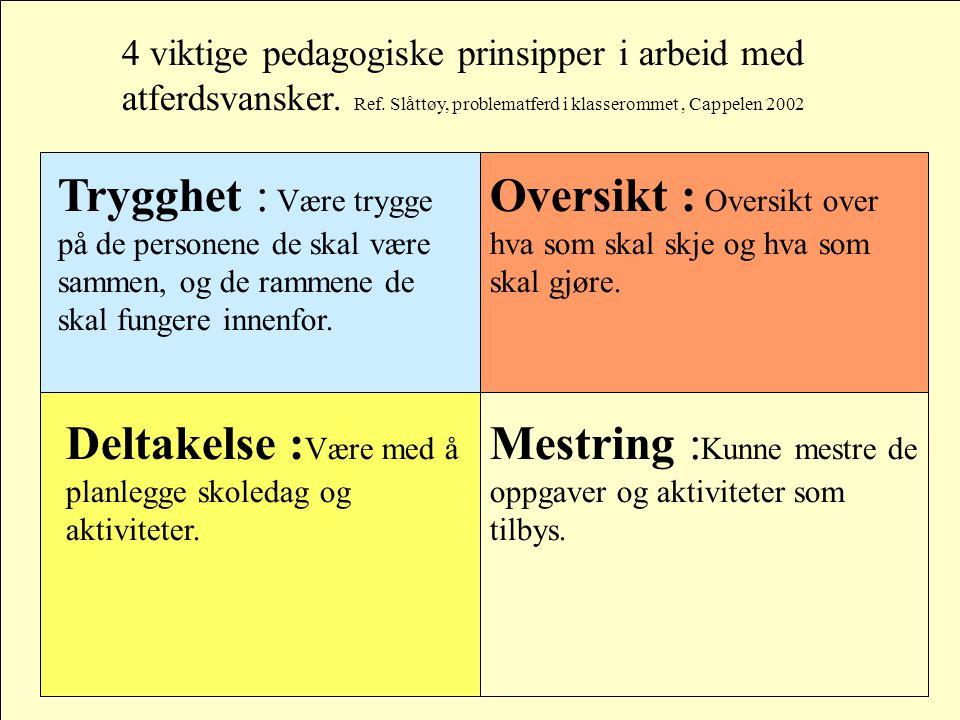 4 viktige pedagogiske prinsipper i arbeid med atferdsvansker.