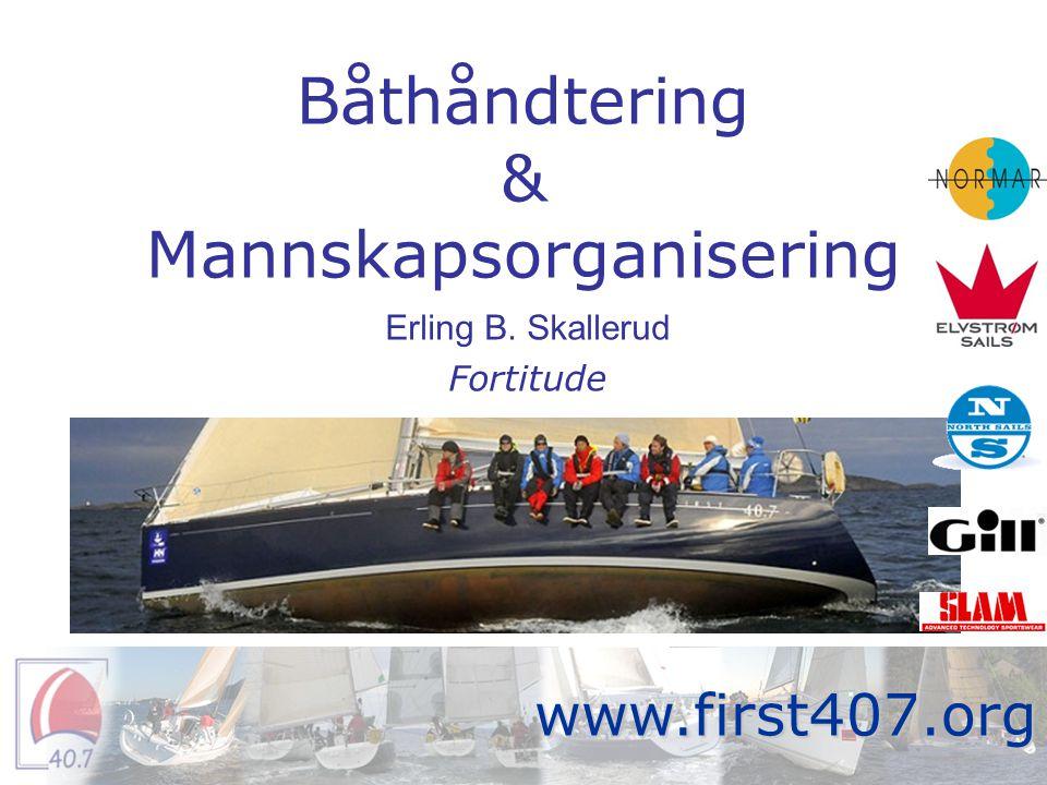 Intro •Posisjoner ombord •Manøvre –Start –Slag –Sette spinnaker/runding –Jibbe –Spinnaker ned/runding –Uforutsette hendelser •Systematisering Fortitude www.first407.org