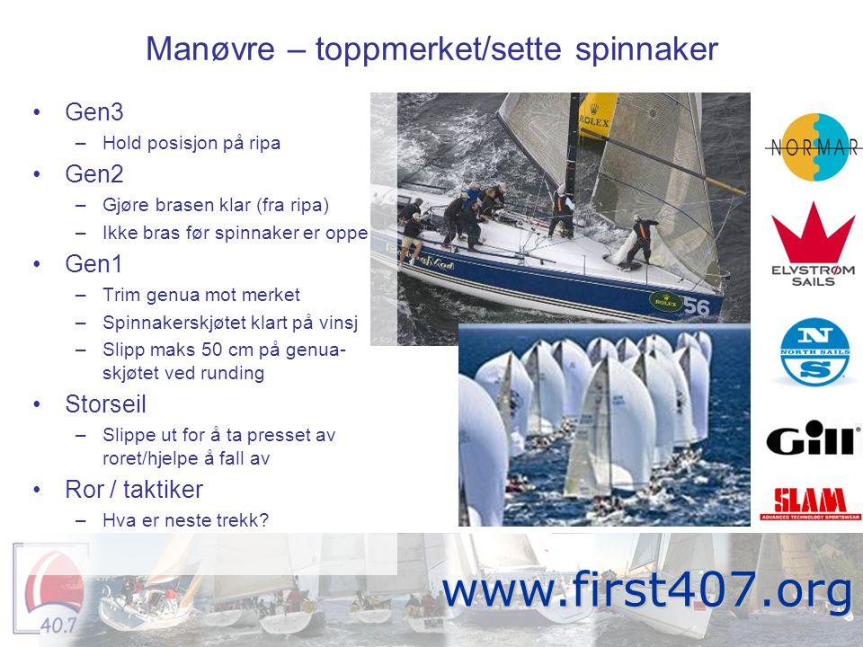 Manøvre – toppmerket/sette spinnaker Fortitude www.first407.org •Gen3 –Hold posisjon på ripa •Gen2 –Gjøre brasen klar (fra ripa) –Ikke bras før spinna