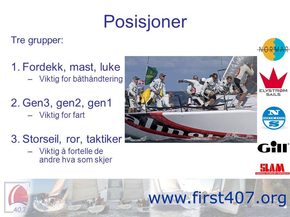 Posisjoner Tre grupper: 1.Fordekk, mast, luke –Viktig for båthåndtering 2.Gen3, gen2, gen1 –Viktig for fart 3.Storseil, ror, taktiker –Viktig å fortel