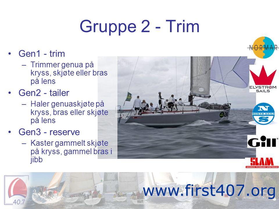 Gruppe 3 - Cockpit •Storseil –Trimmer storseil hele tiden.