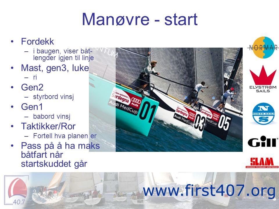 Manøvre - start •Fordekk –i baugen, viser båt- lengder igjen til linje •Mast, gen3, luke –ri •Gen2 –styrbord vinsj •Gen1 –babord vinsj •Taktikker/Ror