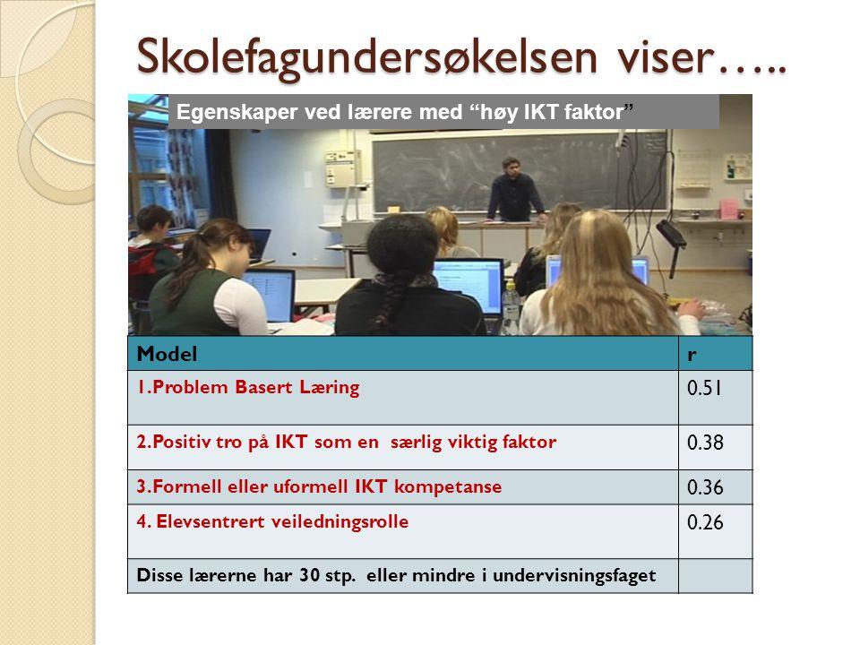 """Skolefagundersøkelsen viser….. Egenskaper ved lærere med """"høy IKT faktor"""" Modelr 1.Problem Basert Læring 0.51 2.Positiv tro på IKT som en særlig vikti"""