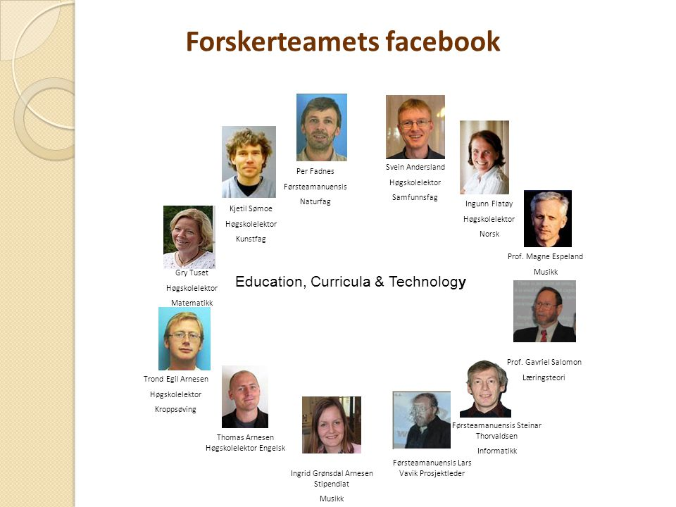 Education, Curricula & Technology Prof.Gavriel Salomon Læringsteori Prof.