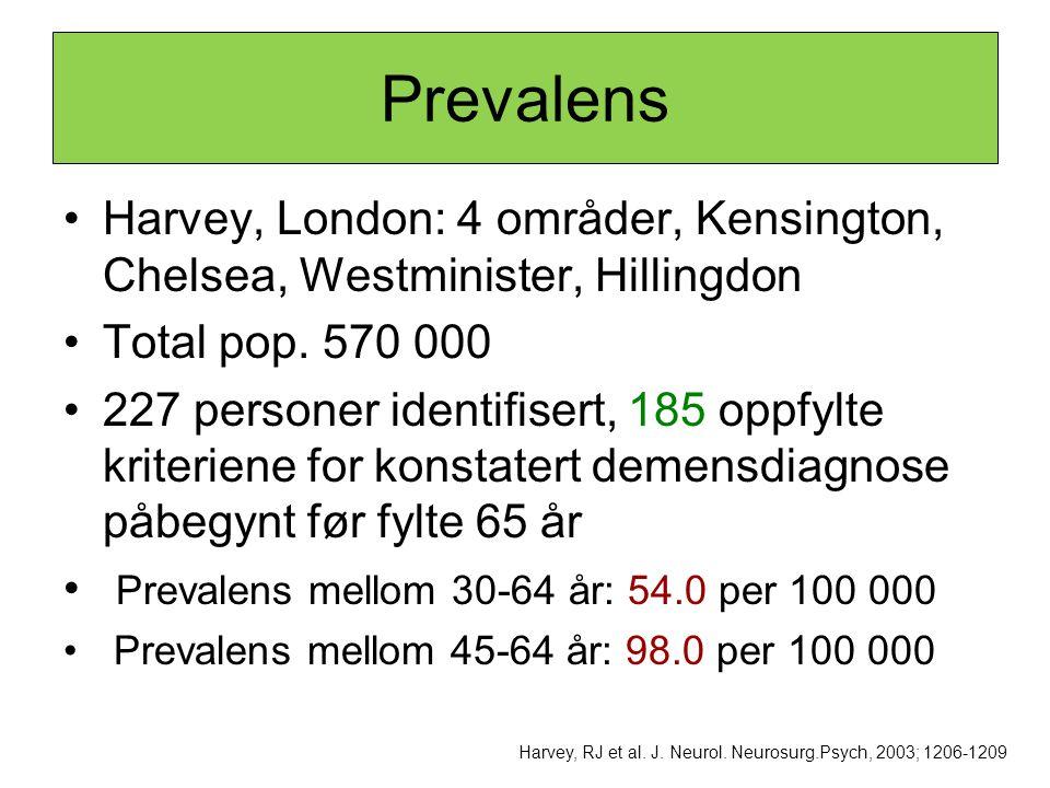Prevalens •Harvey, London: 4 områder, Kensington, Chelsea, Westminister, Hillingdon •Total pop. 570 000 •227 personer identifisert, 185 oppfylte krite