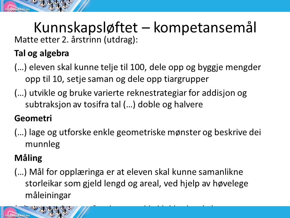 Kunnskapsløftet – kompetansemål Matte etter 2.