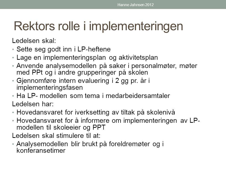 Rektors rolle i implementeringen Ledelsen skal: • Sette seg godt inn i LP-heftene • Lage en implementeringsplan og aktivitetsplan • Anvende analysemod