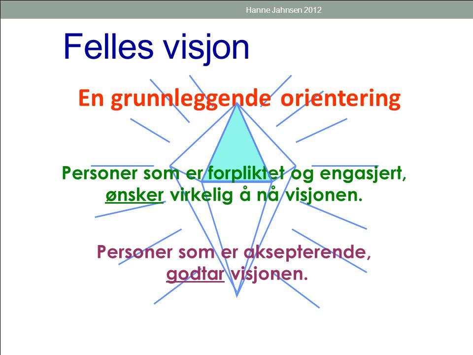 Felles visjon Personer som er forpliktet og engasjert, ønsker virkelig å nå visjonen. Personer som er aksepterende, godtar visjonen. En grunnleggende