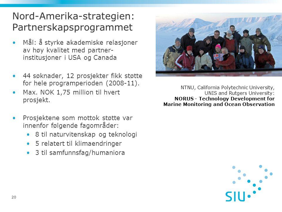20 Nord-Amerika-strategien: Partnerskapsprogrammet •Mål: å styrke akademiske relasjoner av høy kvalitet med partner- institusjoner i USA og Canada •44 søknader, 12 prosjekter fikk støtte for hele programperioden (2008-11).