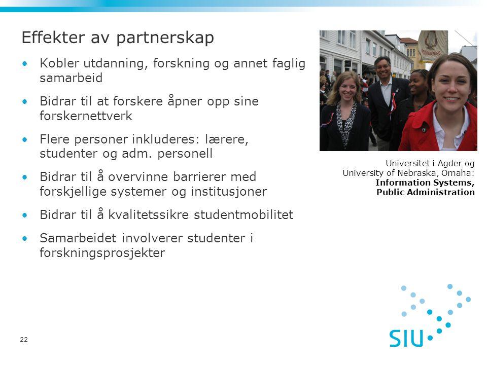 Effekter av partnerskap •Kobler utdanning, forskning og annet faglig samarbeid •Bidrar til at forskere åpner opp sine forskernettverk •Flere personer inkluderes: lærere, studenter og adm.
