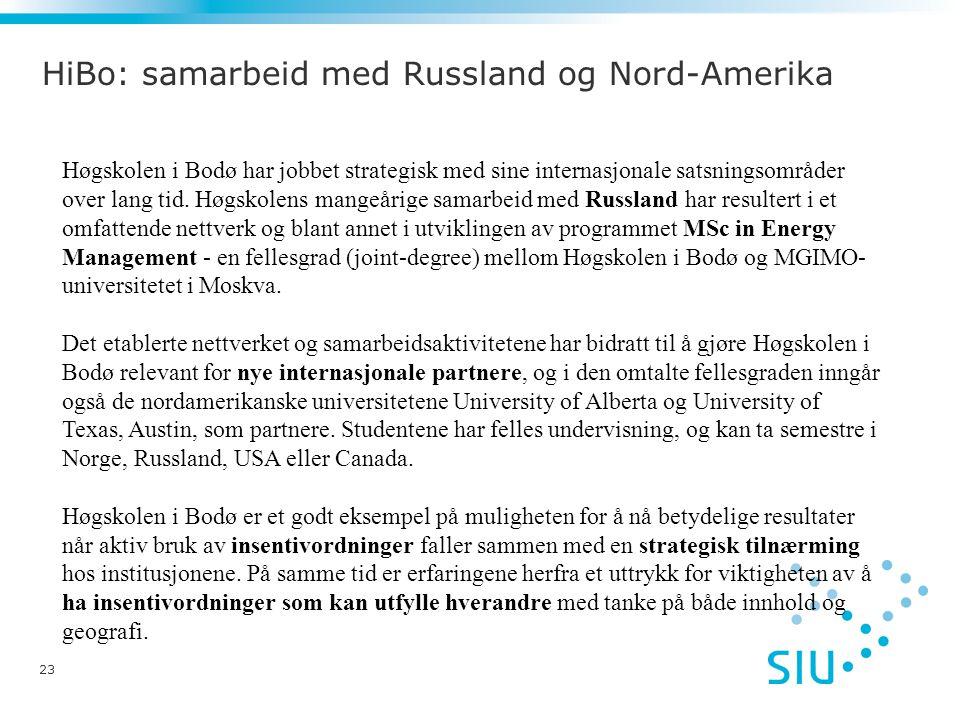 HiBo: samarbeid med Russland og Nord-Amerika 23 Høgskolen i Bodø har jobbet strategisk med sine internasjonale satsningsområder over lang tid.