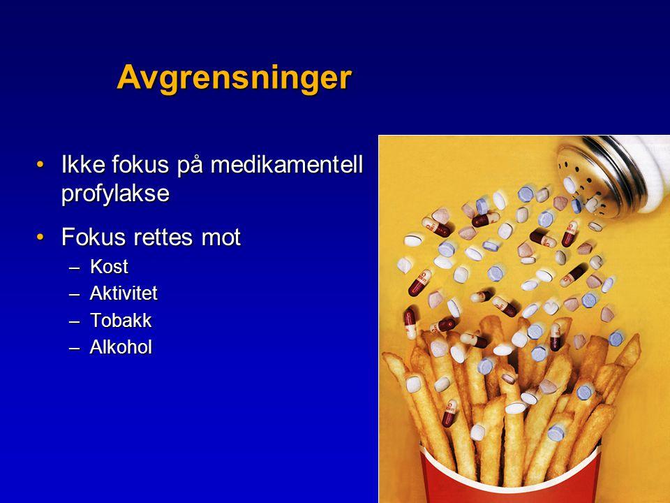 Beregnet kreftgevinst Food,nutrition and the prevention of cancer: a global perspective American Institute for Cancer Research,1997:87-8 •Inkluderer råd om 5-om dagen , mosjon, unngå fedme og reduksjon av rødt kjøtt •30-40% færre krefttilfeller •= 6000 - 8000 færre kreftsyke pr år i Norge