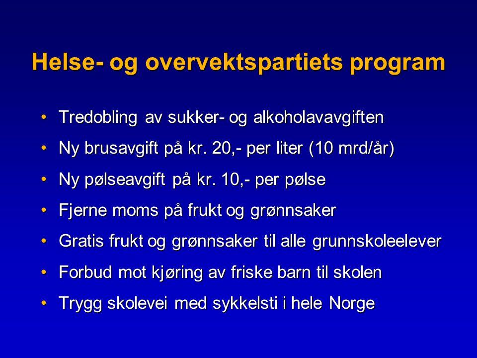 Helse- og overvektspartiets program •Tredobling av sukker- og alkoholavavgiften •Ny brusavgift på kr.