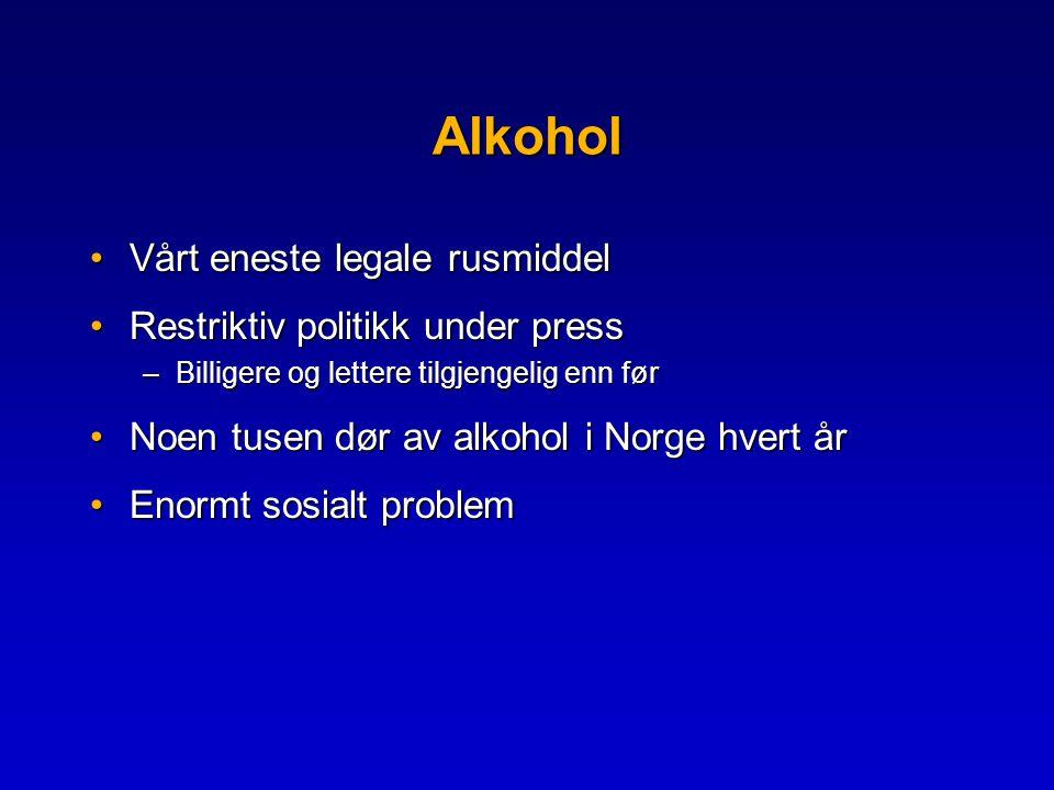 Alkohol •Vårt eneste legale rusmiddel •Restriktiv politikk under press –Billigere og lettere tilgjengelig enn før •Noen tusen dør av alkohol i Norge hvert år •Enormt sosialt problem