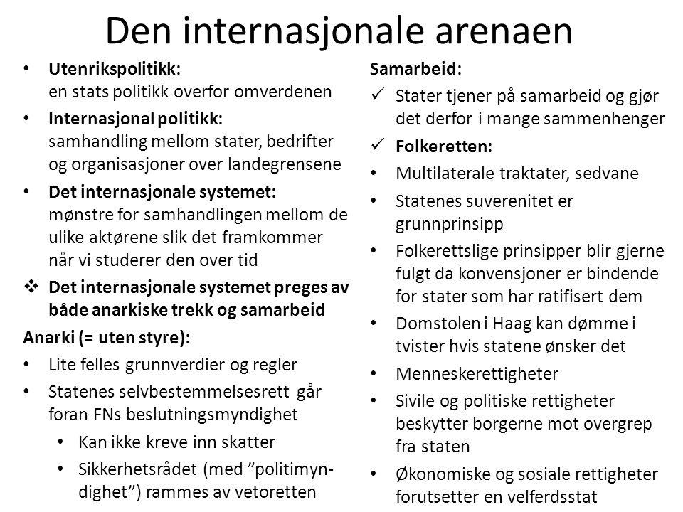 Den internasjonale arenaen • Utenrikspolitikk: en stats politikk overfor omverdenen • Internasjonal politikk: samhandling mellom stater, bedrifter og