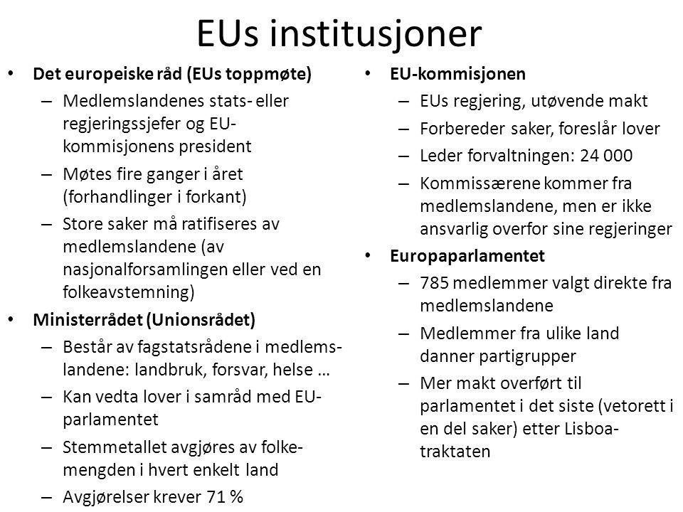 EUs institusjoner • Det europeiske råd (EUs toppmøte) – Medlemslandenes stats- eller regjeringssjefer og EU- kommisjonens president – Møtes fire gange