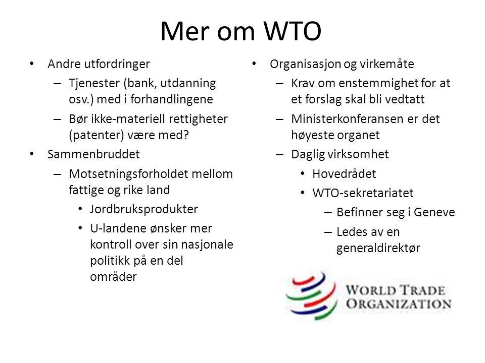 Mer om WTO • Andre utfordringer – Tjenester (bank, utdanning osv.) med i forhandlingene – Bør ikke-materiell rettigheter (patenter) være med? • Sammen