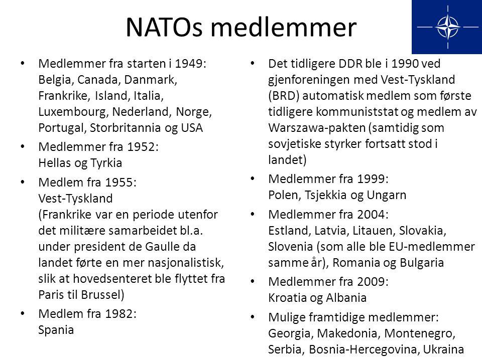 NATOs medlemmer • Medlemmer fra starten i 1949: Belgia, Canada, Danmark, Frankrike, Island, Italia, Luxembourg, Nederland, Norge, Portugal, Storbritan