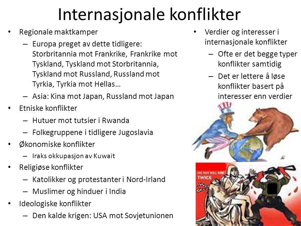 Internasjonale konflikter • Regionale maktkamper – Europa preget av dette tidligere: Storbritannia mot Frankrike, Frankrike mot Tyskland, Tyskland mot