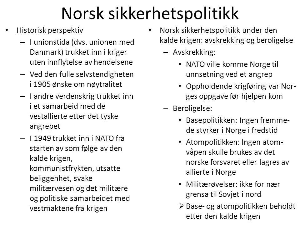 Norsk sikkerhetspolitikk • Historisk perspektiv – I unionstida (dvs. unionen med Danmark) trukket inn i kriger uten innflytelse av hendelsene – Ved de