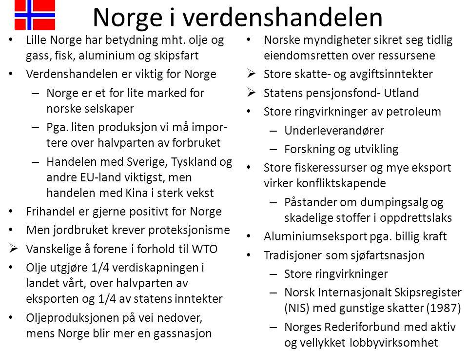 Norge i verdenshandelen • Lille Norge har betydning mht. olje og gass, fisk, aluminium og skipsfart • Verdenshandelen er viktig for Norge – Norge er e