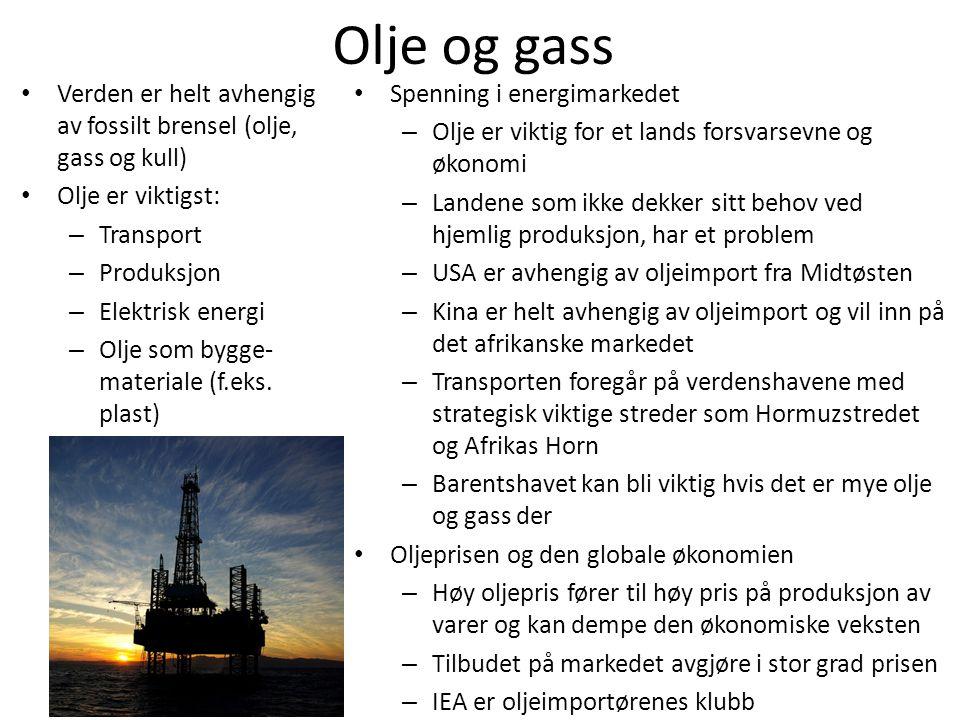 Olje og gass • Verden er helt avhengig av fossilt brensel (olje, gass og kull) • Olje er viktigst: – Transport – Produksjon – Elektrisk energi – Olje