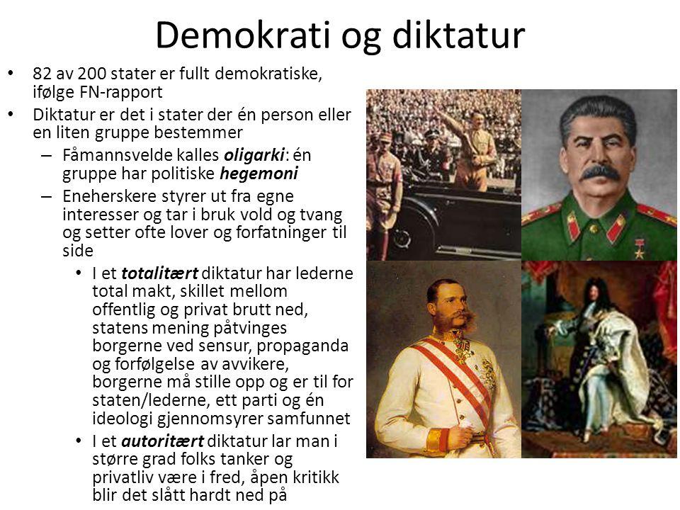 Demokrati og diktatur • 82 av 200 stater er fullt demokratiske, ifølge FN-rapport • Diktatur er det i stater der én person eller en liten gruppe beste