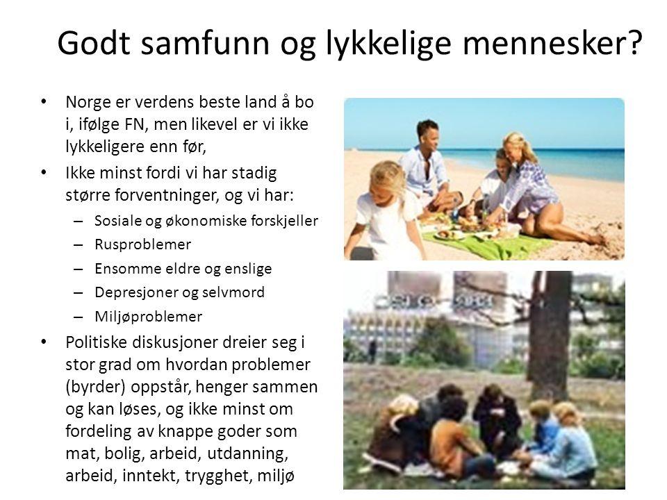 Godt samfunn og lykkelige mennesker? • Norge er verdens beste land å bo i, ifølge FN, men likevel er vi ikke lykkeligere enn før, • Ikke minst fordi v