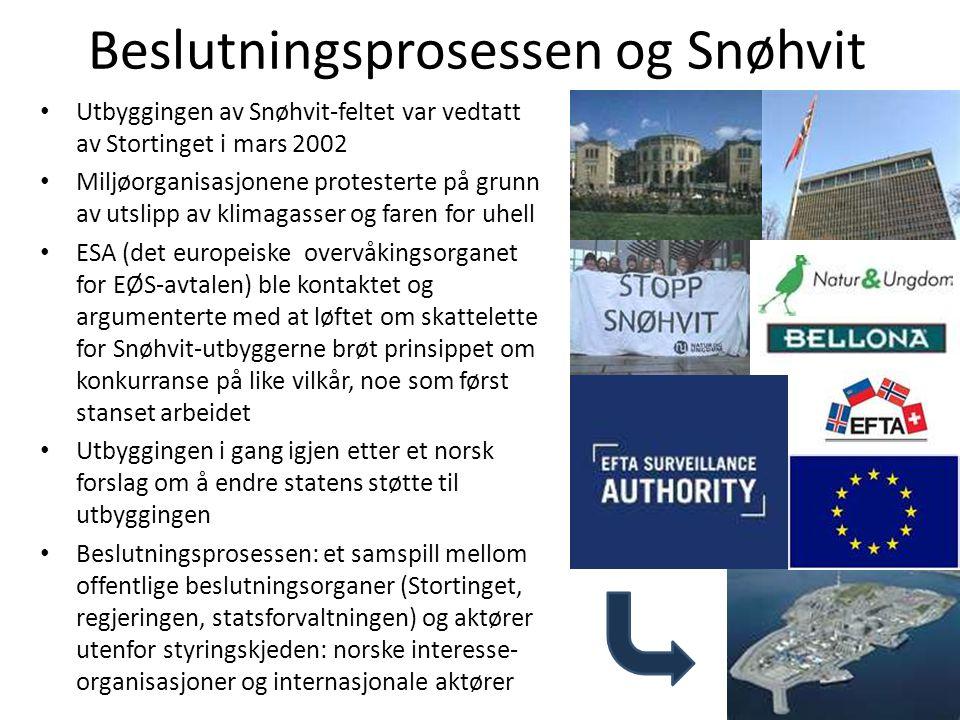 Beslutningsprosessen og Snøhvit • Utbyggingen av Snøhvit-feltet var vedtatt av Stortinget i mars 2002 • Miljøorganisasjonene protesterte på grunn av u