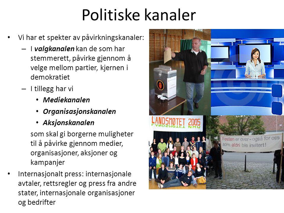 Politiske kanaler • Vi har et spekter av påvirkningskanaler: – I valgkanalen kan de som har stemmerett, påvirke gjennom å velge mellom partier, kjerne