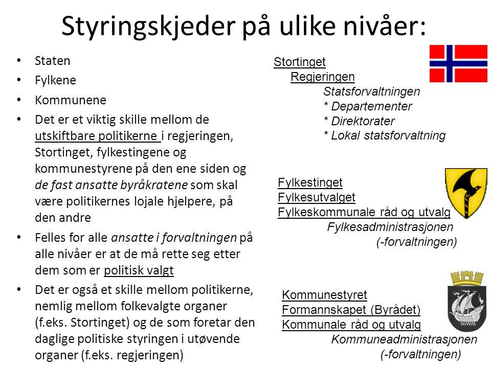 Styringskjeder på ulike nivåer: • Staten • Fylkene • Kommunene • Det er et viktig skille mellom de utskiftbare politikerne i regjeringen, Stortinget,