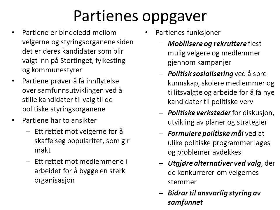 Partienes oppgaver • Partiene er bindeledd mellom velgerne og styringsorganene siden det er deres kandidater som blir valgt inn på Stortinget, fylkest