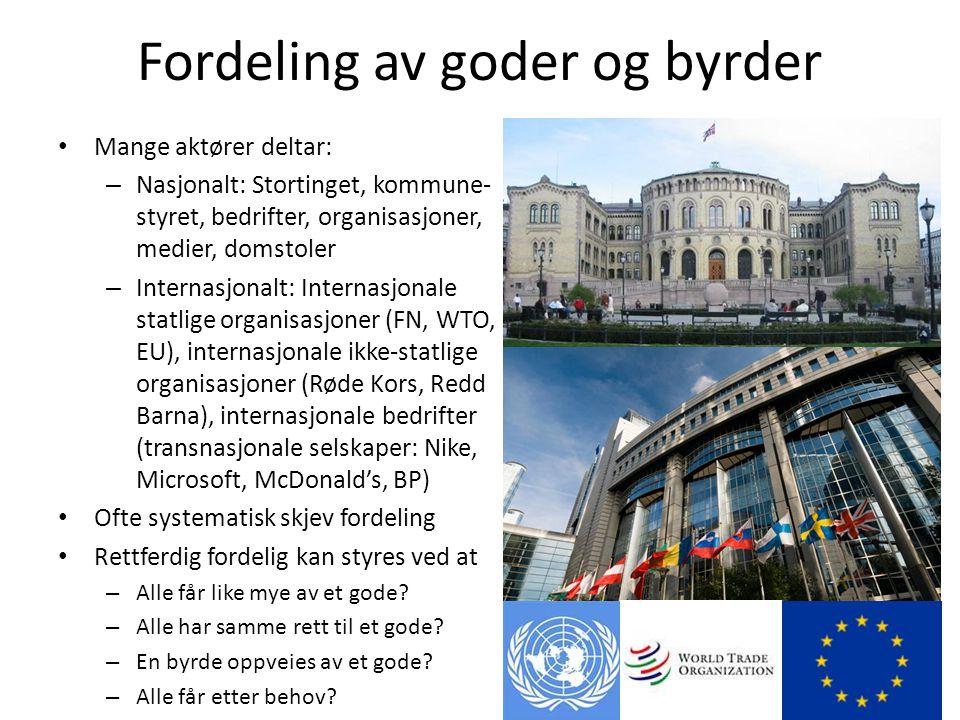 Fordeling av goder og byrder • Mange aktører deltar: – Nasjonalt: Stortinget, kommune- styret, bedrifter, organisasjoner, medier, domstoler – Internas